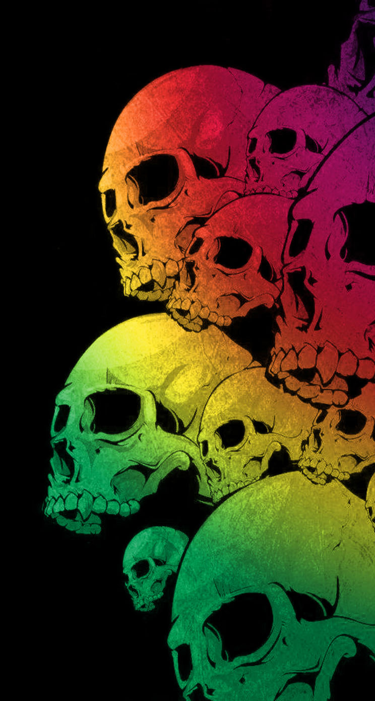Skulls Colorful Black Background - The iPhone Wallpapers