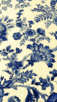 Vintage Blue Drawings Fabric