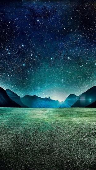 Starry Night Grass Field Mountains